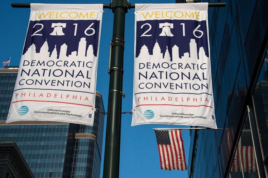 Banners announcing the US Democratic National Convention are displayed in Philadelphia on July 23, 2016.