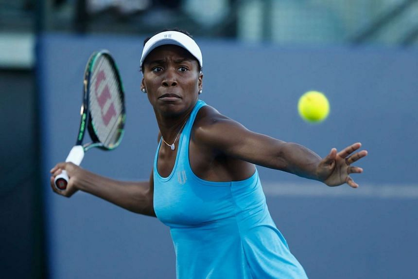 Venus Williams plays her semi-final match against Alison Riske during the Bank of the West Classic at the Stanford University Taube Family Tennis Stadium on July 23, 2016.
