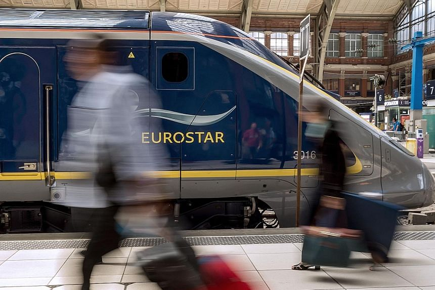 (Anti-clockwise from far left) A Eurostar train at a station in Lille, France; China Railway High-speed Harmony bullet trains at a maintenance base in Wuhan, Hubei province, China; and a Japanese bullet train in Tokyo.