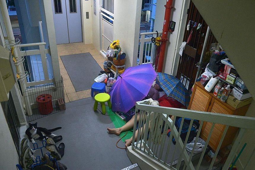 The mother and daughter started sleeping outside the flat two years ago, after the lifts in the block were upgraded, said neighbours.