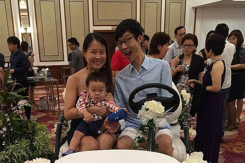 Mr Hariharaan Malikaffure, 36, and Ms Shamini Thilarajah- Hariharaan, 34, married in 2014. Mr Kiat Ng, 37, and Ms Catherine Tan, 33, with their one-year-old son. The couple got married three years ago. Mr Benny Se Teo, 56, founder of Eighteen Chefs,