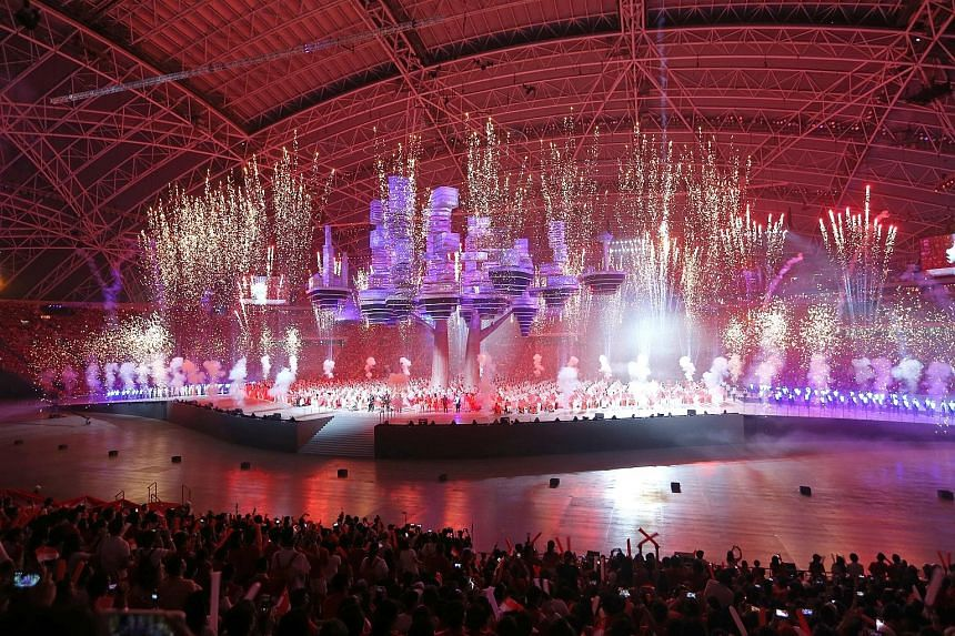 Pyrotechnics on stage wowed spectators at the finale of the first of two NDP preview shows at the National Stadium yesterday.