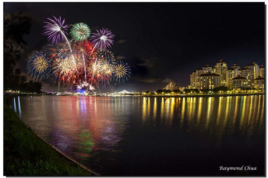 A composite photo of fireworks at the NDP preview display, taken from Republic Avenue by reader Raymond Chua, on July 23, 2016.