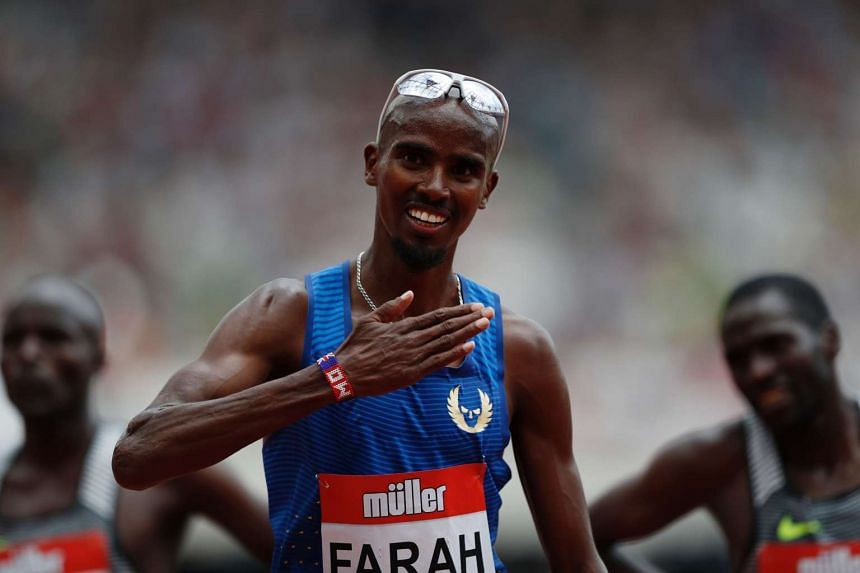 Britain's Mo Farah celebrates winning the men's 5,000m during the IAAF Diamond League Anniversary Games.