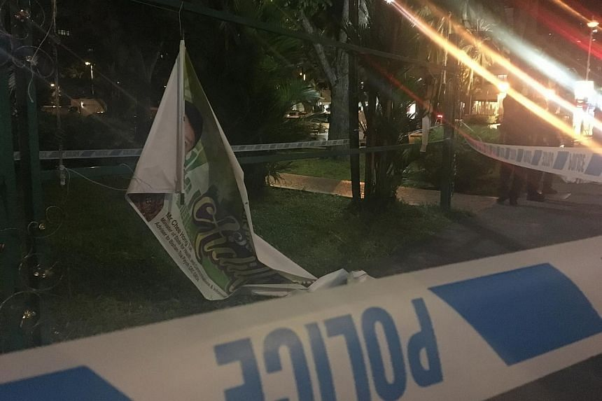 One of the four grassroots banners along Toa Payoh North appear to have been cut down on Saturday night (July 23).