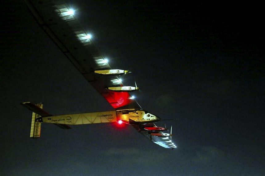 The Solar Impulse 2 takes off from Cairo International Airport in Cairo, Egypt, on July 24.