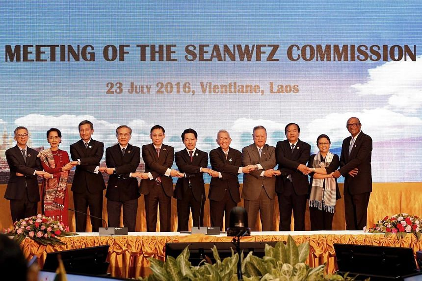 Southeast Asian foreign ministers at a summit in Laos.