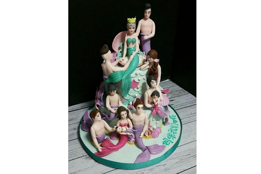 The mermaid cake made by Ms Priscillia Wong for Mr Takashi's ill mother.