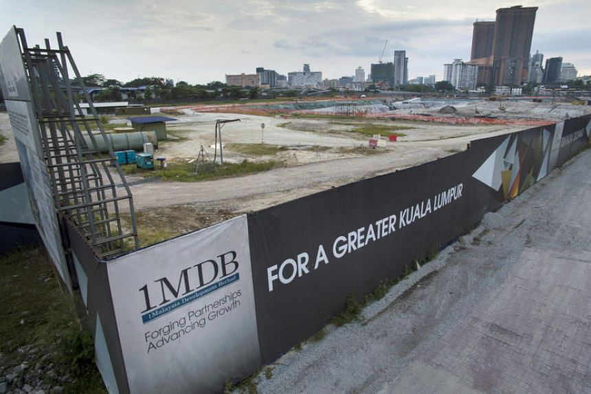 A 1MDB sign at the site of the Tun Razak Exchange project in Kuala Lumpur, Malaysia, on July 17.
