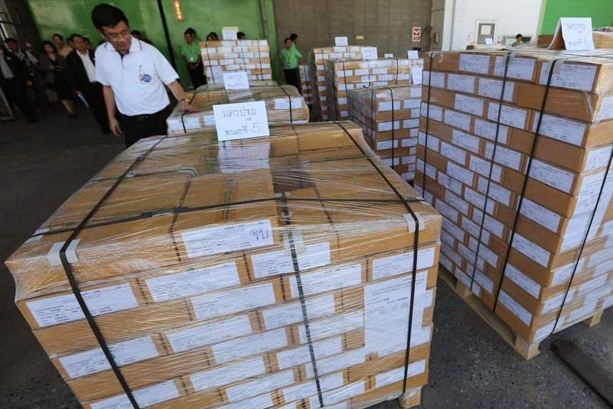 Ballot referendum cards at the printing office in Samut Prakan province, on the outskirts of Bangkok, on July 25, 2016.