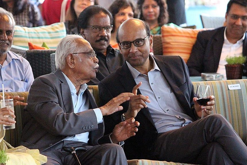 Mr Bala Subramanion with DPM Tharman at the launch of his biography. The book, published by World Scientific Publishing, is available for $28 in paperback and $56 for hardback.