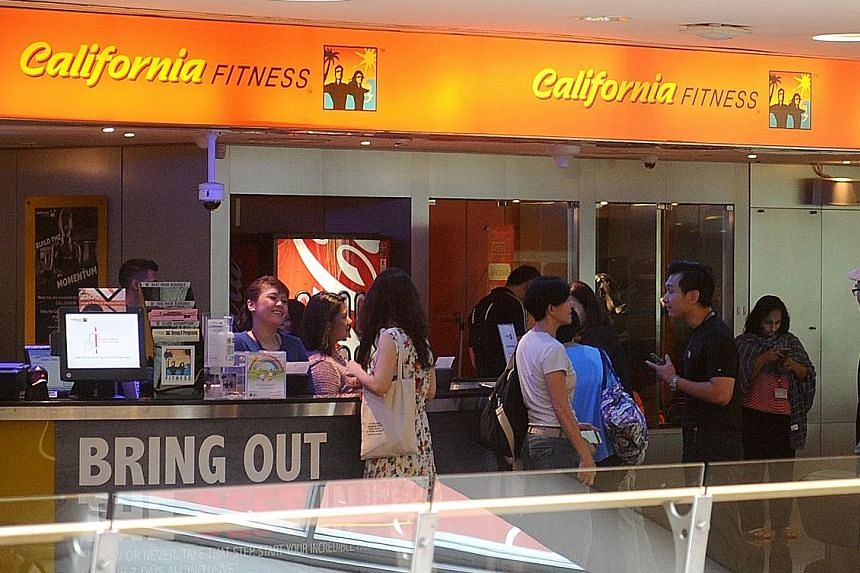 California Fitness' Novena outlet last Tuesday before it closed. After nearly two decades in Singapore, the gym chain shuttered its Raffles Place branch suddenly on July 16, followed by its Novena and Bugis outlets last week.