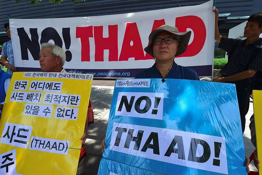 South Korean activists protesting against the planned deployment of the US-built Thaad near the US Embassy in Seoul on July 19.