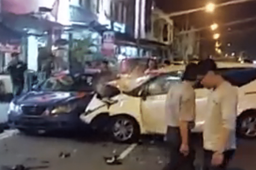 The accident involved a mini bus, two cars and three taxis.
