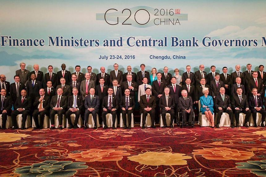 Finance ministers and central bank governors pose for a  photo at the G20 finance ministers meeting in Chengdu, China on July 24.