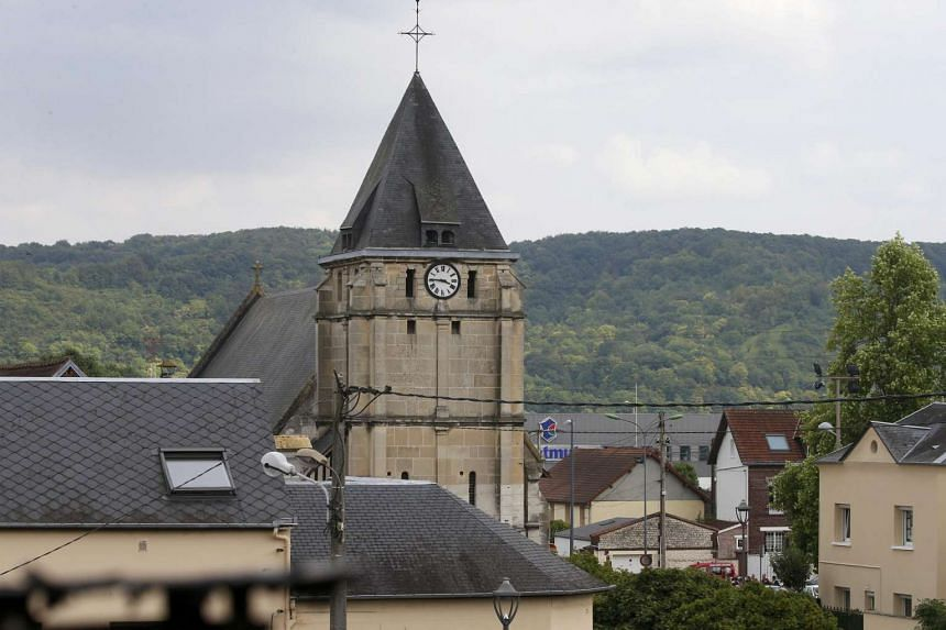 The bell tower of the church Saint-Etienne-du-Rouvray where the attack occurred near Rouen in Normandy, France on July 26, 2016.