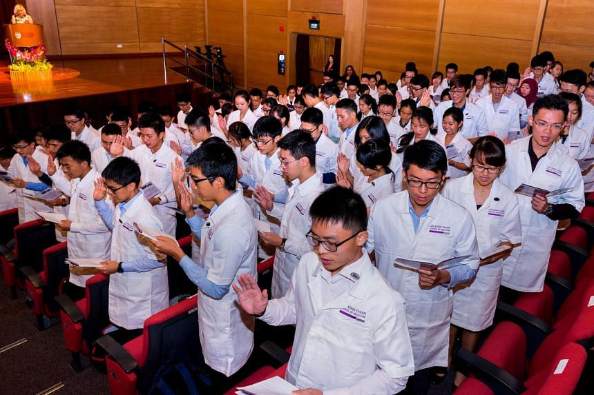 Students during the intake ceremony at NTU's Lee Kong Chian School of Medicine in 2015.