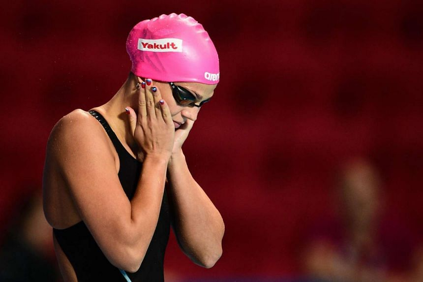 Russia's Yuliya Efimova preparing to compete in the final of the women's 50m breaststroke swimming event at the 2015 Fina World Championships in Kazan.
