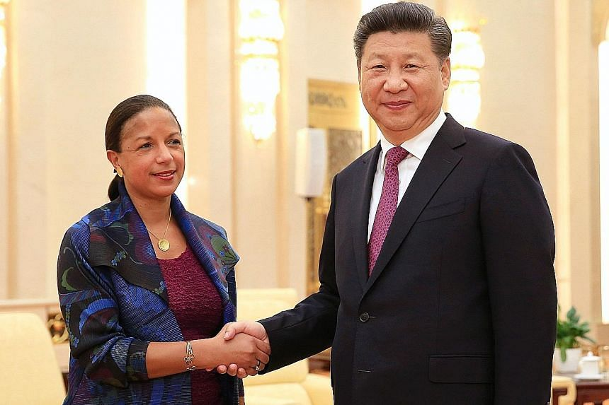 US National Security Adviser Rice met President Xi yesterday during her trip to prepare for President Obama's G-20 visit.