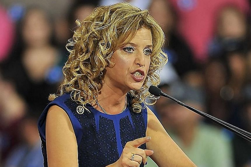Ms Wasserman Schultz at a rally for Mrs Clinton in Florida last Saturday. The Democratic National Committee's Chair has resigned.