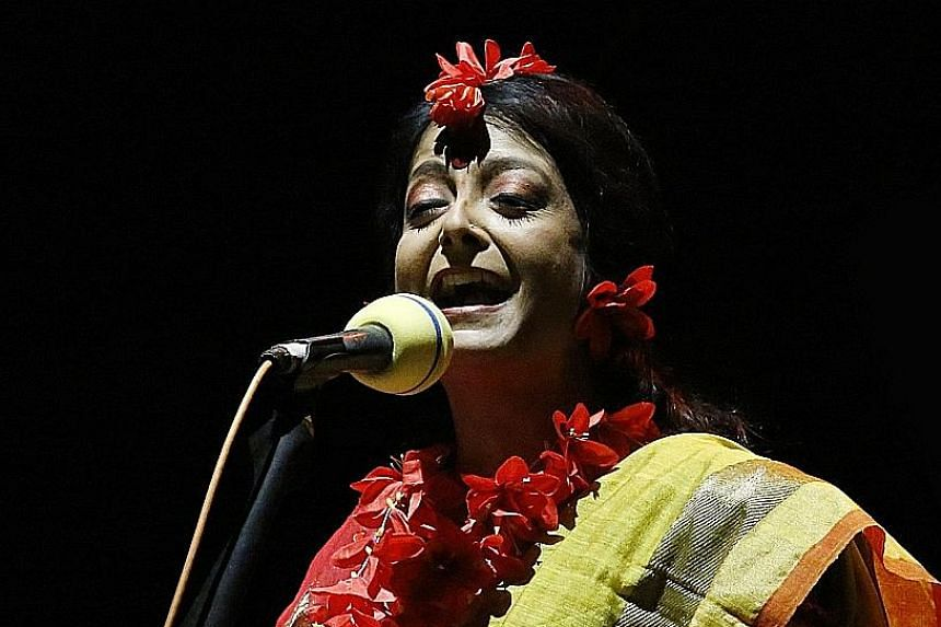 Red Oleander by famed Bengali writer Rabindranath Tagore is performed as an audio play featuring the signature style of director Bratati Bandyopadhyay (above).