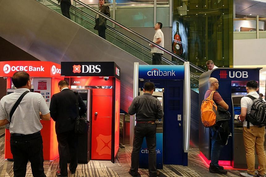 OCBC, DBS, Citibank and UOB ATMs located at the passenger departure hall of Changi Airport Terminal 3.