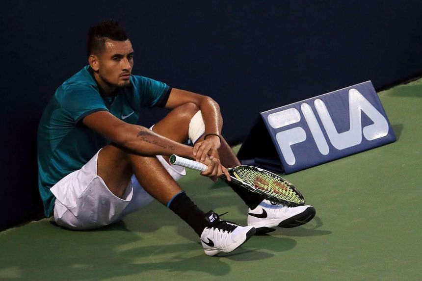 Nick Kyrgios waits for the final game in his match against Denis Shapovalov on Day 1 of the Rogers Cup, on July 25, 2016.
