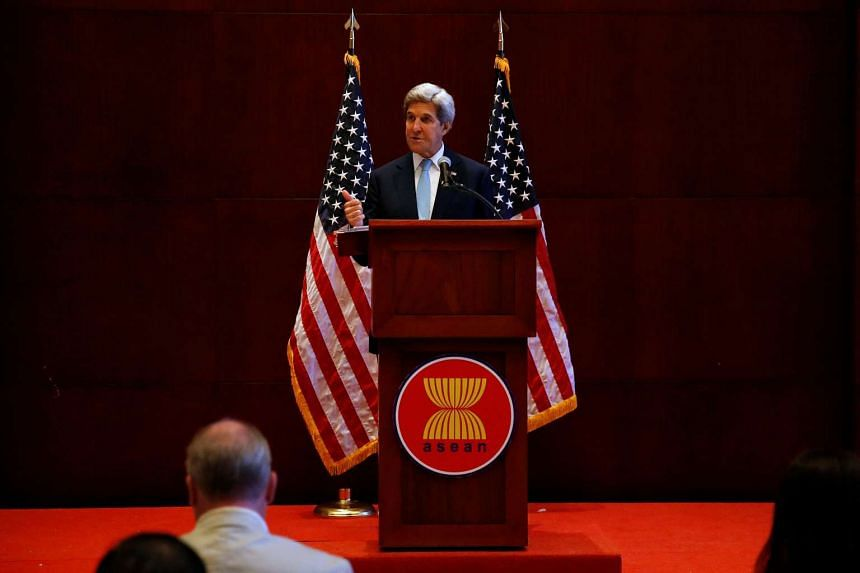 US Secretary of State John Kerry at a news conference on the sidelines of the Asean Foreign Ministers Meeting in Vientiane, Laos, on July 26, 2016.