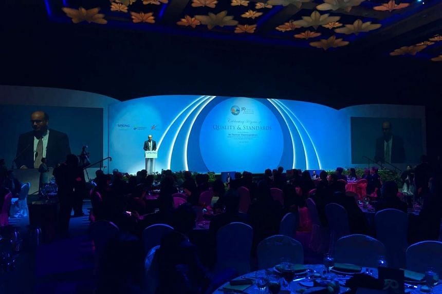 Deputy Prime Minister Tharman Shanmugaratnam speaking at a dinner held by Spring Singapore, the Singapore Standards Council and the Singapore Accreditation Council to mark the 50th year of the Singapore Standardisation Programme and the 30th year of