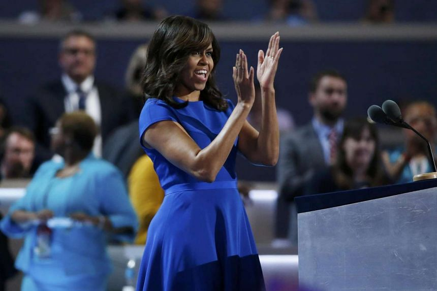 First Lady Michelle Obama takes the stage at the Democratic National Convention in Philadelphia.