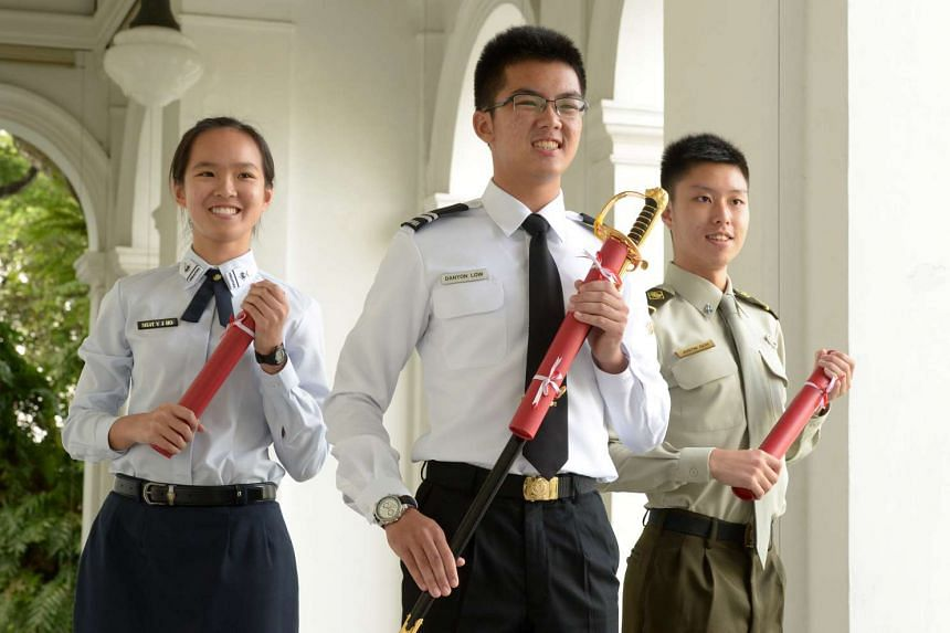 Mindef/SAF Scholarship Award recipients (from left) ME4(T) Ho Yan Jin, MID Danyon Low Ming Loon and ME(4) Justin Goh Shu Hao.