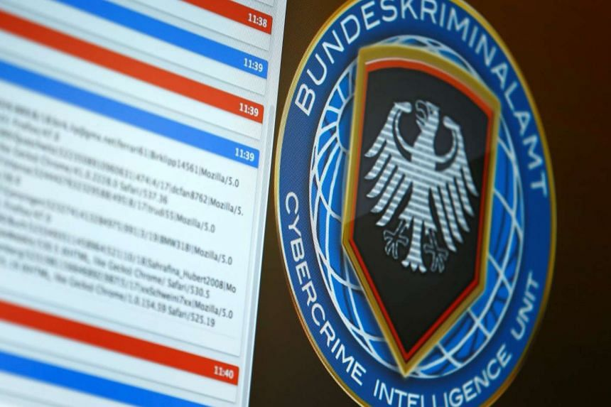 The logo of the Cybercrime Intelligence Unit of Germany's Bundeskriminalamt (BKA) Federal Crime Office is pictured during a media day in Wiesbaden, Germany on July 27, 2016.