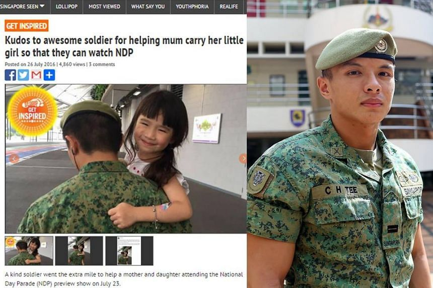 LTA Tee Chze Hao was lauded for helping to carry a young girl to save her the long walk from one end of the National Stadium to the other during the NDP preview on July 23, 2016.