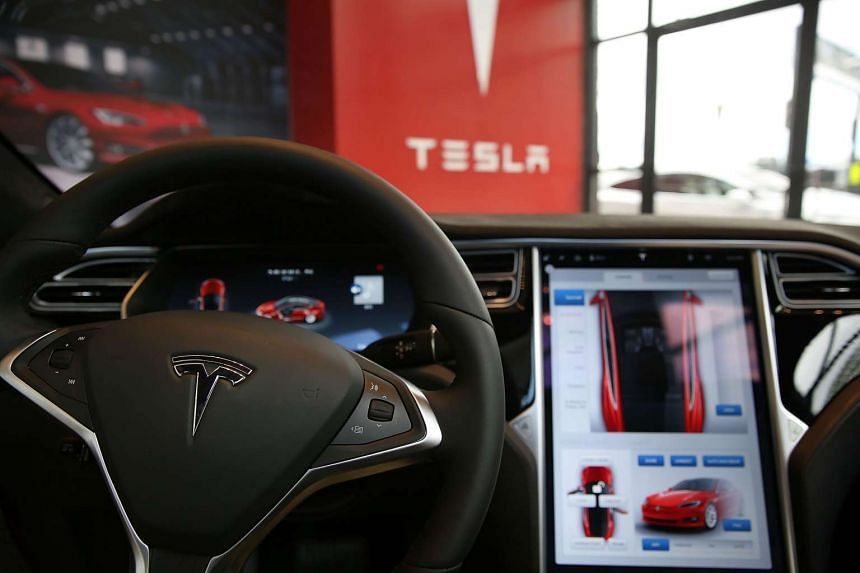 The inside of a Tesla vehicle at a showroom and service centre in New York City on July 5, 2016.