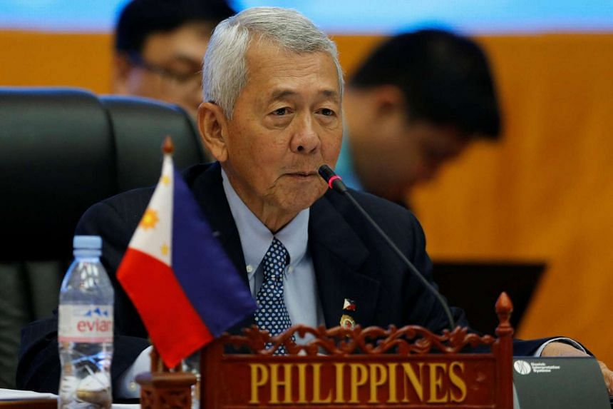 Philippine Foreign Secretary Perfecto Yasay speaks at an Asean foreign ministers meeting in Vientiane, Laos, on July 25.