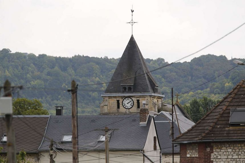A photo showing the steeple of the church, which was blocked by police following an attack by two knife-wielding men.