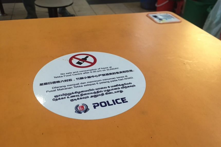 The alcohol ban at Tekka Food Centre will be brought forward to 6pm on Sundays starting next month.