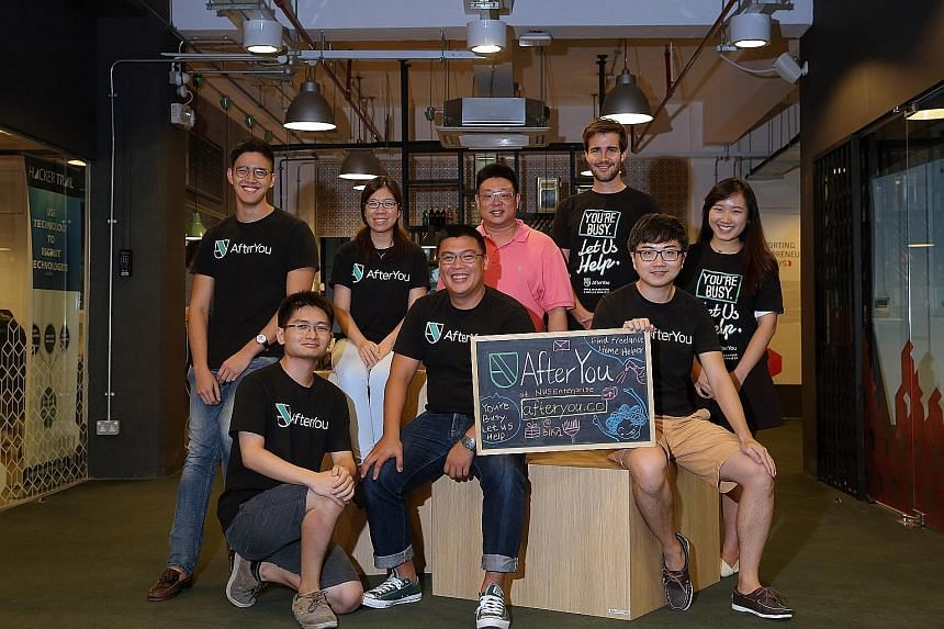 Mr Liang (front row, centre) with his AfterYou FindHelper team. He is flanked by chief operating officer Jason Teo (on his left) and Teo YiRong. Standing behind them are (from left) Mr Ashley Moey, Ms Belinda Phua, Mr Kelvin Lim, Mr Henrik Lange Hovi