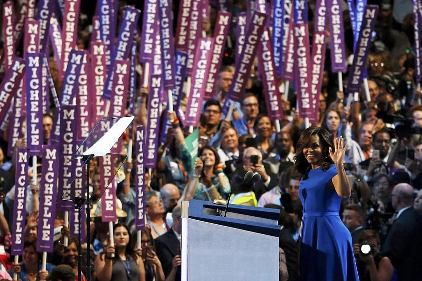 Mrs Michelle Obama was the top searched speaker on Google on Monday, after her speech at the Democratic Party's national convention. And on Twitter, about 40 tweets mentioning the First Lady were posted every second, according to social media analyti