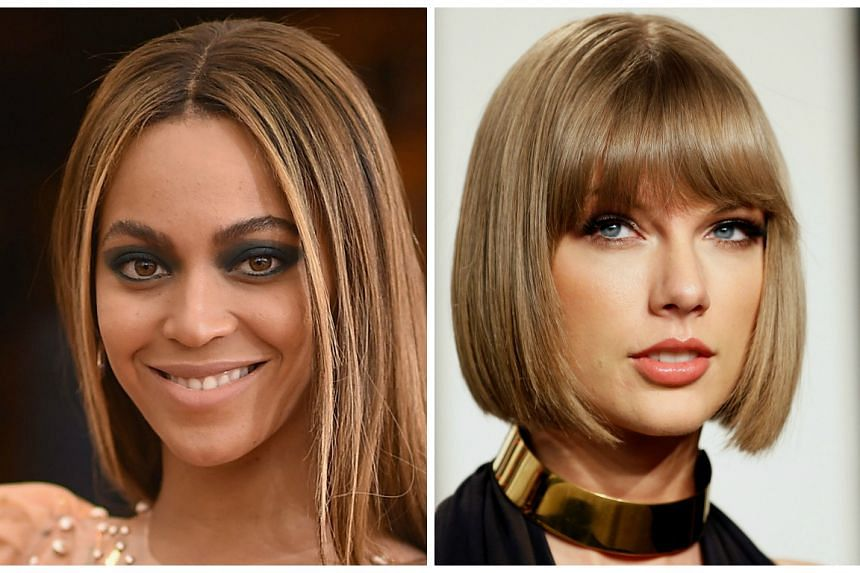 Beyonce (left) garnered a career-best 11 nominations, but there was nothing for Taylor Swift (right).