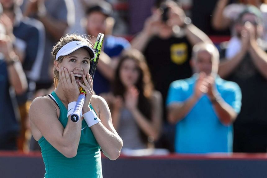 Eugenie Bouchard celebrating after defeating Lucie Safarova at Uniprix Stadium in Montreal, Quebe, on July 26, 2016.