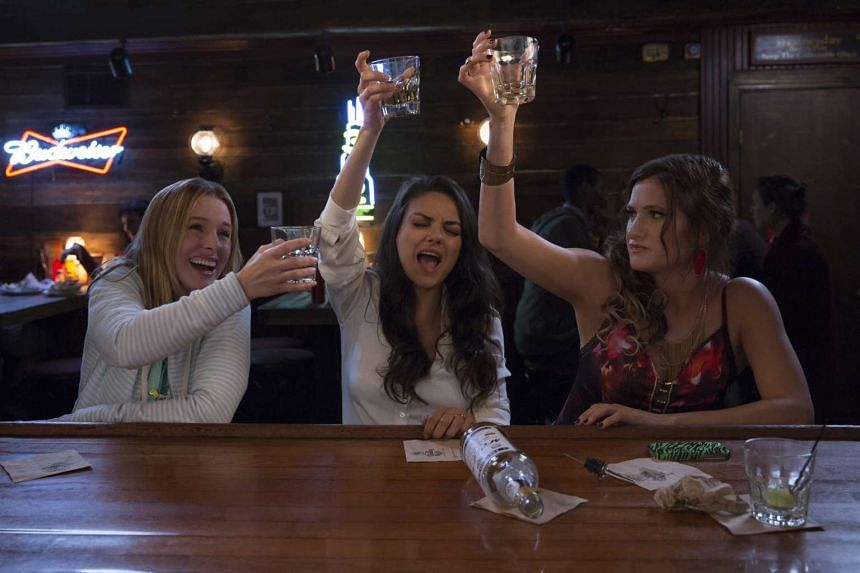 Actresses (from left) Kristen Bell, Mila Kunis and Kathryn Hahn in Bad Moms.