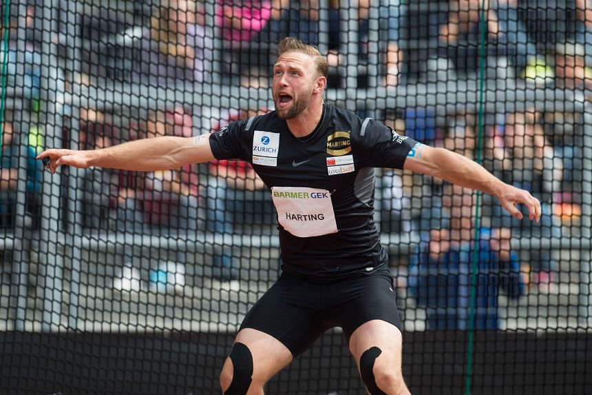 Germany's Robert Harting competing in the discus event at the German Athletics Championships last month. He will be bidding to defend his Olympic gold in Rio de Janeiro.