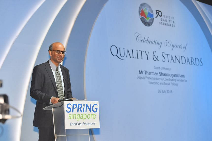 """Mr Tharman last night said adoption of standards can be a real enabler for small firms. """"It makes them credible players even in competition with larger players in global markets."""""""