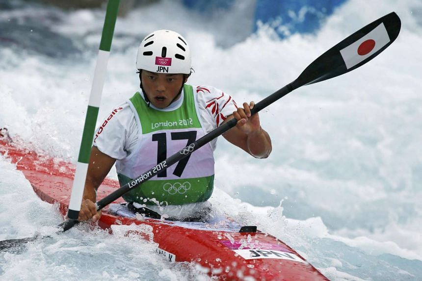 Japan's Kazuki Yazawa competing in the K-1 kayak slalom during the London 2012 Olympic Games where he finished ninth.