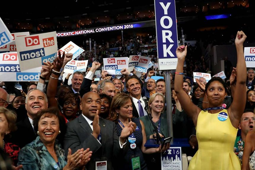 The New York delegation cast their votes during roll call.