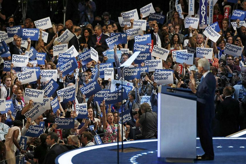 Former US president Bill Clinton speaks on the second night of the Democratic National Convention in Philadelphia.