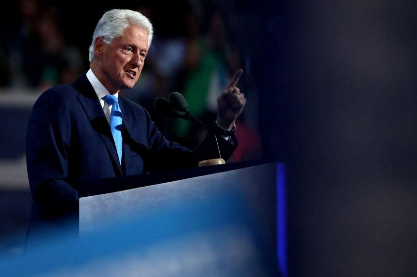 Former US president Bill Clinton speaking on the second day of the Democratic National Convention at the Wells Fargo Center in Philadelphia.