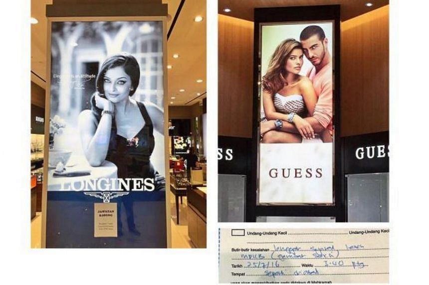 The posters of Aishwarya Rai (left) and the models are deemed sexy in the MPKB summons.