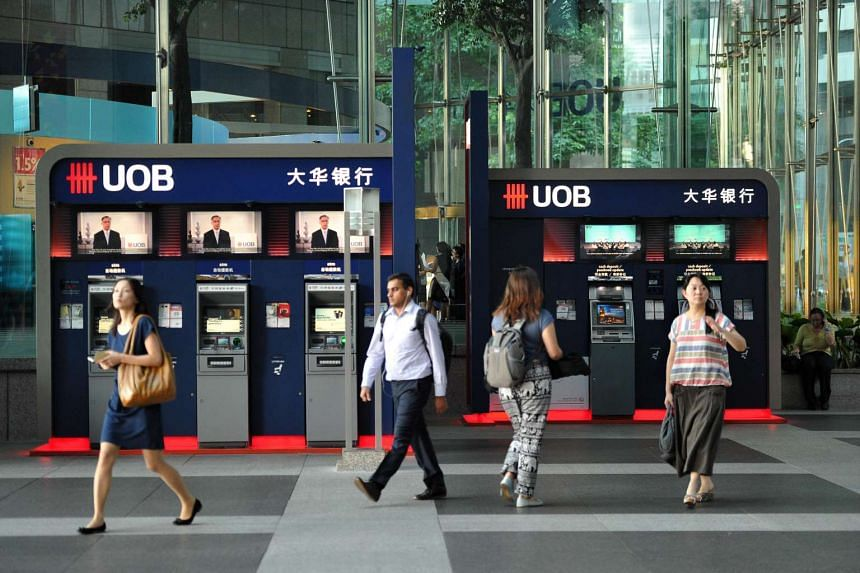Automated Teller Machines of United Overseas Bank (UOB) at UOB Plaza in Raffles Place.